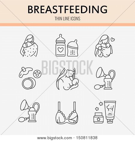Modern vector line icon of breastfeeding baby infant food. Breast feeding elements - pump woman child powdered milk bottle sterilizer baby. Infant food pictogram