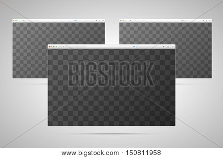 Three browsers windows with transparent place for screen on light background