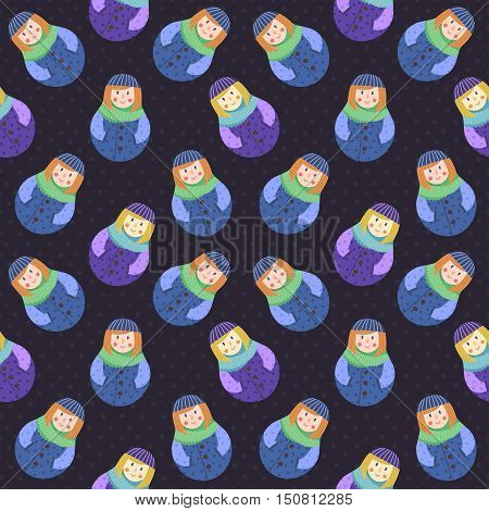 Modern cute and funny cartoon naive red hear russian doll pattern. In blue and purple colors.