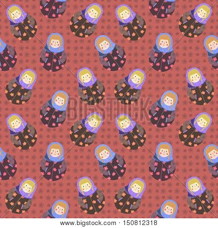 Modern cute and funny cartoon naive russian doll pattern with flowers. In brown dark red and purple colors.