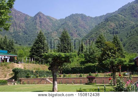 Landscape in Srinagar in Kashmir, in India