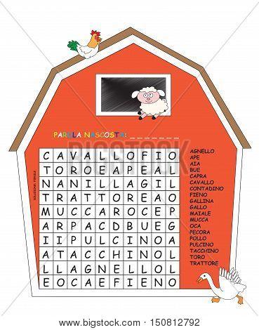 game for children: crossword of animals in italian in barn