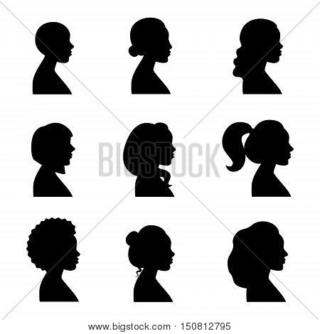 Women different profiles black silhouettes vintage vector set.