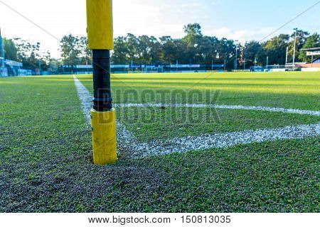 The Hague the Netherlands - October 08 2016: synthetic grass sports field with infill