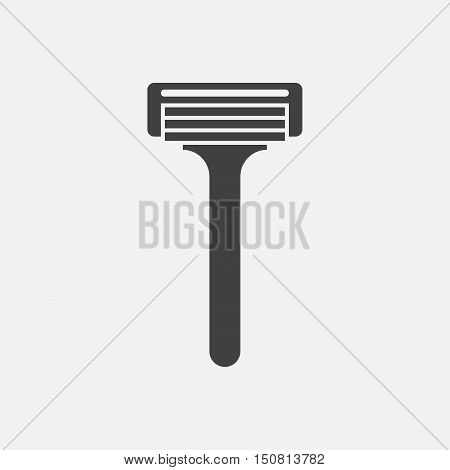 Razor icon. A bladed tool primarily used in the removal of unwanted body hair through the act of shaving.