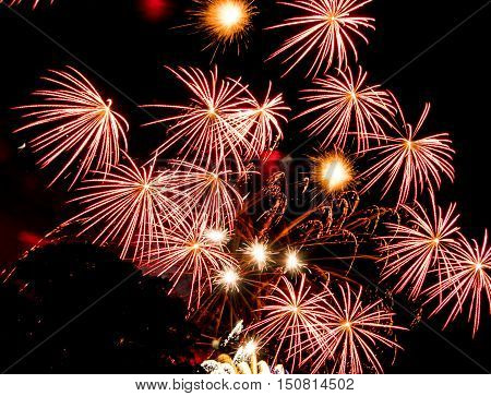Red star bursts. Spectacular fireworks  at a national fireworks championship in its ninth year at Belvoir Castle. Three of the UK best firework companies compete with a 10-minute firework display.