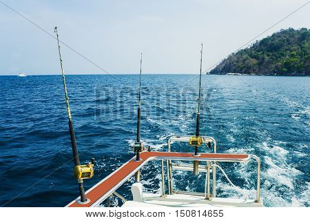 Fishing trolling  with motor boat in the tropical sea