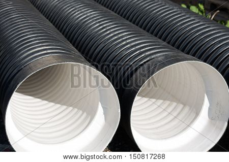 Large corrugated PVC pipes for drainage and wastewater