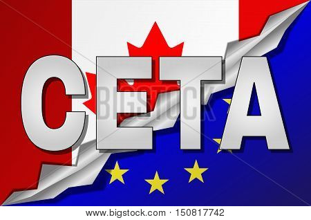 CETA - comprehensive economic and trade agreement between Canada and the European Union. Canada and European Union flags in CETA text with shadow.
