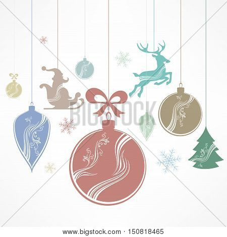 Christmas color ornament decoration on white. New Year design elements winter holiday toy vector illustration