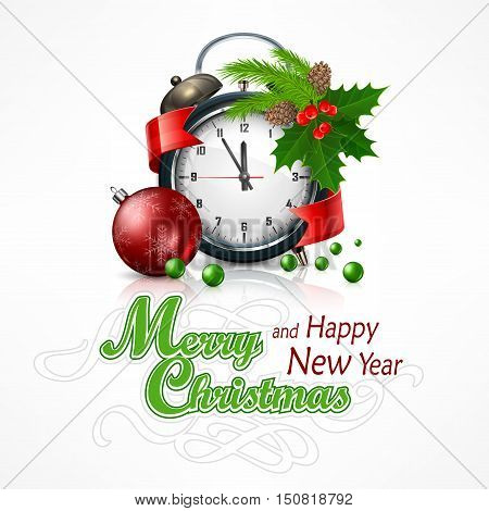 New Year click on white with holly berry branch. Marry Christmas object vector illustration