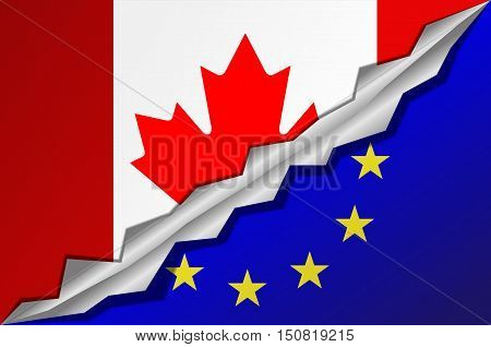 Mixed flags Canada and European Union. CETA - comprehensive economic and trade agreement between Canada and the European Union.