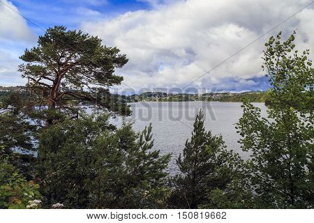 TROLDHAUGEN, NORWAY - JULY 3, 2016: This is a view of the lake Nordasvatnet from the country house of Edvard Grieg in Troldhaugen.