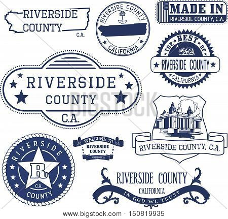 Riverside County, Ca. Set Of Stamps And Signs