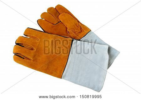 Rough leather gloves for welders, isolated on white background. Accessories of welder.