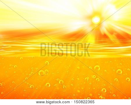 Honey sea. Orange yellow Liquid with oxygen bubbles. Orange yellow waves sun sky for Oil Honey Beer Juice.