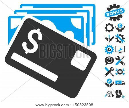 Banknotes and Card pictograph with bonus tools pictograph collection. Vector illustration style is flat iconic bicolor symbols, blue and gray colors, white background.