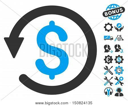 Chargeback icon with bonus tools pictogram. Vector illustration style is flat iconic bicolor symbols, blue and gray colors, white background.