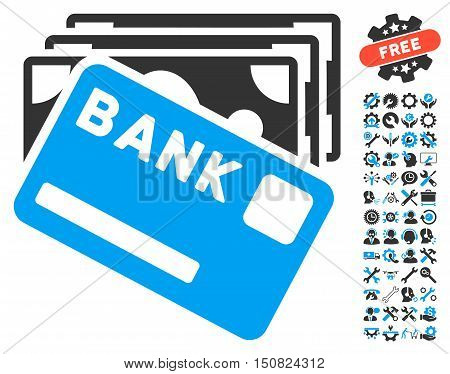 Credit Money icon with bonus tools pictogram. Vector illustration style is flat iconic bicolor symbols, blue and gray colors, white background.