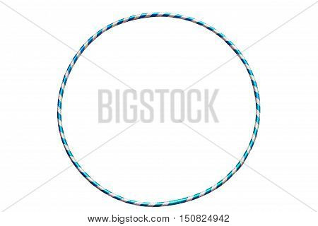 Gymnastics, fitness, diet. Versatile exerciser for sports , fitness and ballet.The hula Hoop light blue with silver isolated on white background.