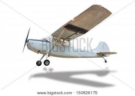 one retro plane struck the ground white.