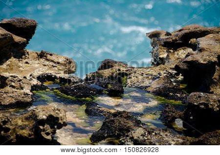 Close-up Of Rock Formations And Aquamarine Waters  Near Devils Bridge - 4