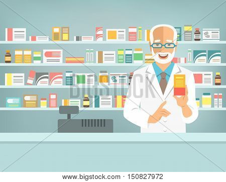 Pharmacist at counter in pharmacy. Man druggist stands opposite shelves with medicines and points to box with drug. Flat vector illustration. Health care medical background. Drugstore cartoon banner