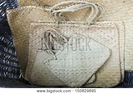 Traditional Maori kite (bag) woven from harakeke (flax).