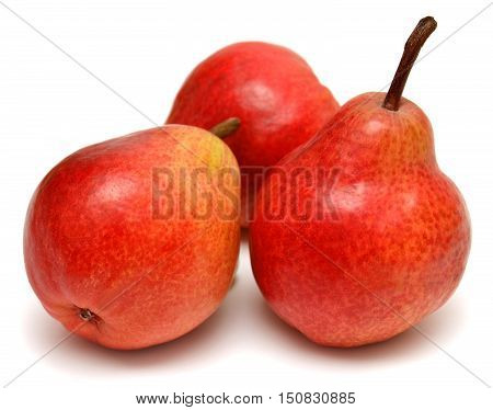 Three red pears isolated on white background