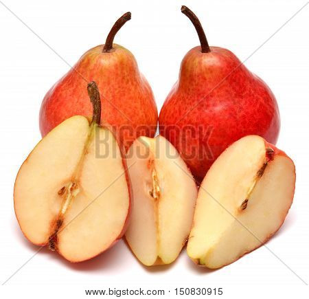 Red pears isolated on white background. Fruit.