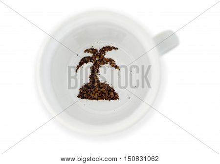Coffee grounds in coffee mug reads the future of exotic destination.Concept photo of future fortune telling about travel holiday and vacation. Isolated on white background with copy space