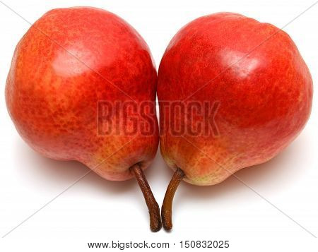 Pears isolated on white background. Red, two.