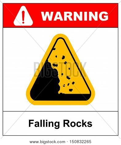 Falling rocks warning sign Warning stciker for outdoors and roads Vector isymbol