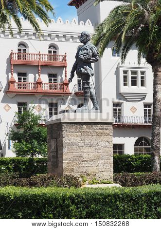 statue of Pedro Menendez de Aviles status in St. Augsustine Florida. He founded the city and established a permanent colony there.