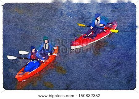 Digital watercolor painting of two canoes one with a man and a woman and one with one man rowing on a lake. With space for text.