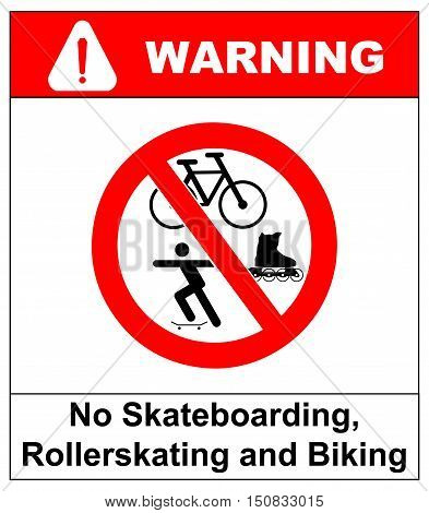 No roller blade, scooter, roller, skater or skating signs in red prohibition circle. Vector warning banner for supermarkets, outdoors. Isolated on white.