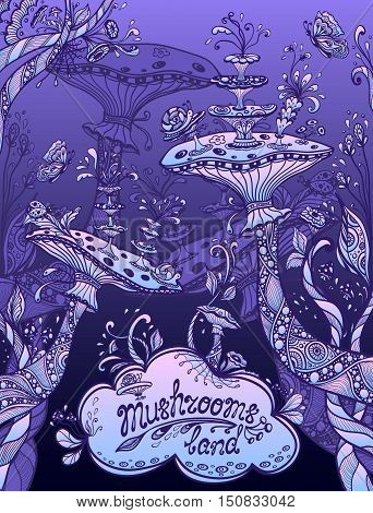 Fantasy illustration mushrooms land in Zen doodle or Zen tangle style blue  lilac  night for template background for book cover or computer game or  wallpaper or for screen of mobile telephone