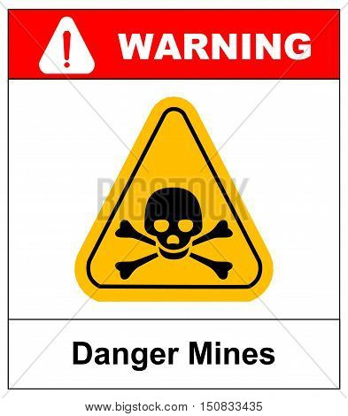 vector skull danger sign. danger mines hazard. vector sticker with yellow triangle symbol isolated on white. exclamation point.