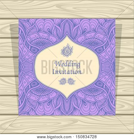 Wedding invitation with Zen tangle or Zen doodle flowers in lilac beige colors  or  Creative Post Card for married or for packed something