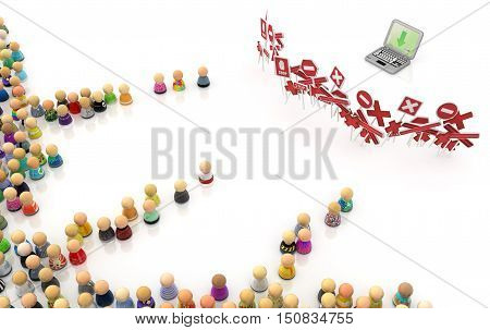 Crowd of small symbolic figures laptop restricted 3d illustration horizontal