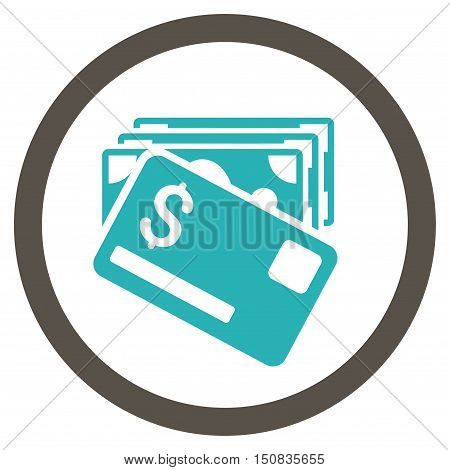 Banknotes and Card vector bicolor rounded icon. Image style is a flat icon symbol inside a circle, grey and cyan colors, white background.