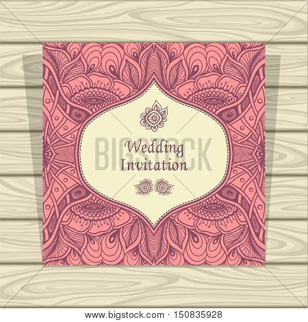 Wedding invitation with Zen tangle or Zen doodle flowers in pink beige colors  or  Creative Post Card for married or for packed something