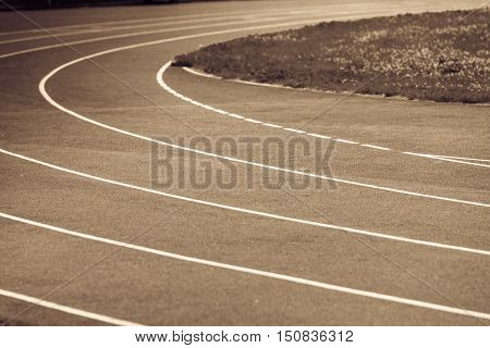 Running Track In Stadium.