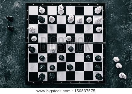 Chess pieces in the battle positions on the board