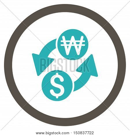 Dollar Korean Won Exchange vector bicolor rounded icon. Image style is a flat icon symbol inside a circle, grey and cyan colors, white background.