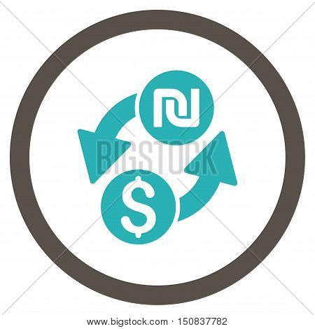 Dollar Shekel Exchange vector bicolor rounded icon. Image style is a flat icon symbol inside a circle, grey and cyan colors, white background.
