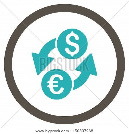 Euro Dollar Exchange vector bicolor rounded icon. Image style is a flat icon symbol inside a circle, grey and cyan colors, white background.