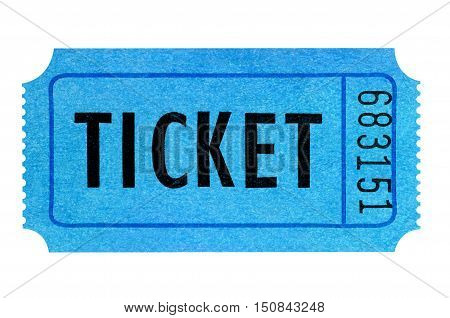 Blue raffle ticket isolated on white background.