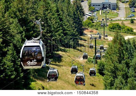 ROTORUA NZL - JAN 18 2015:Skyline Gondola CablewayA 900 metre long Doppelmayr cableway system with a vertical rise of 178.5 metres is capable of carrying 2000 people an hour in eight-seater cabins.