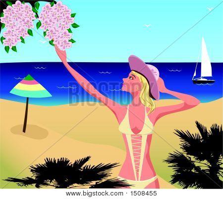 Girl On The Beach.Eps